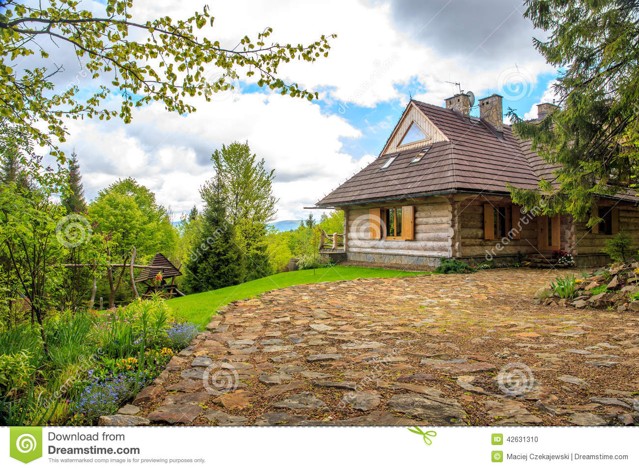 Beautiful Log Cabin In Forest Stock Photo - Image of