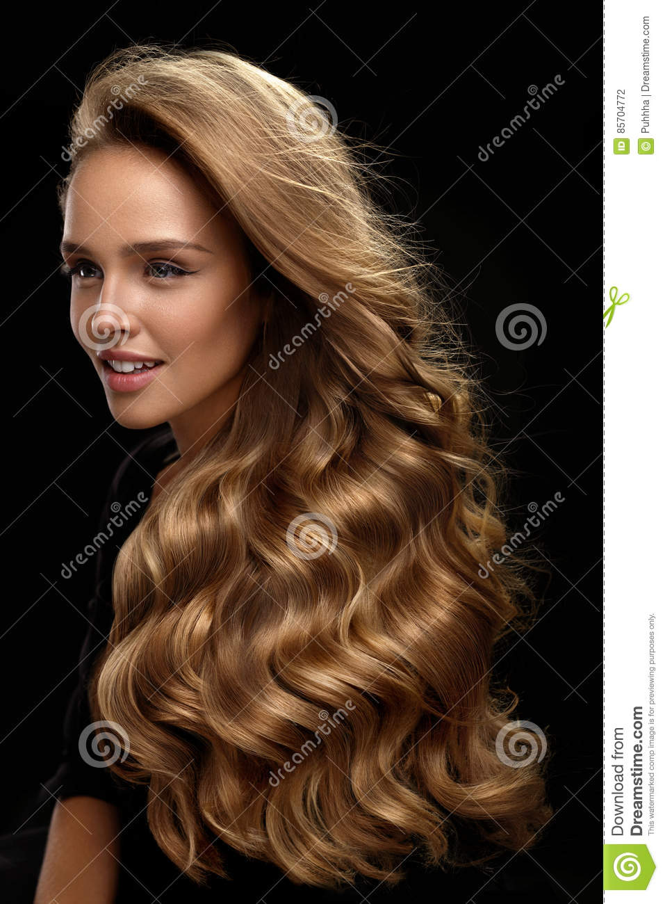 Beautiful Long Hair Woman Model With Blonde Curly Hair Stock Photo