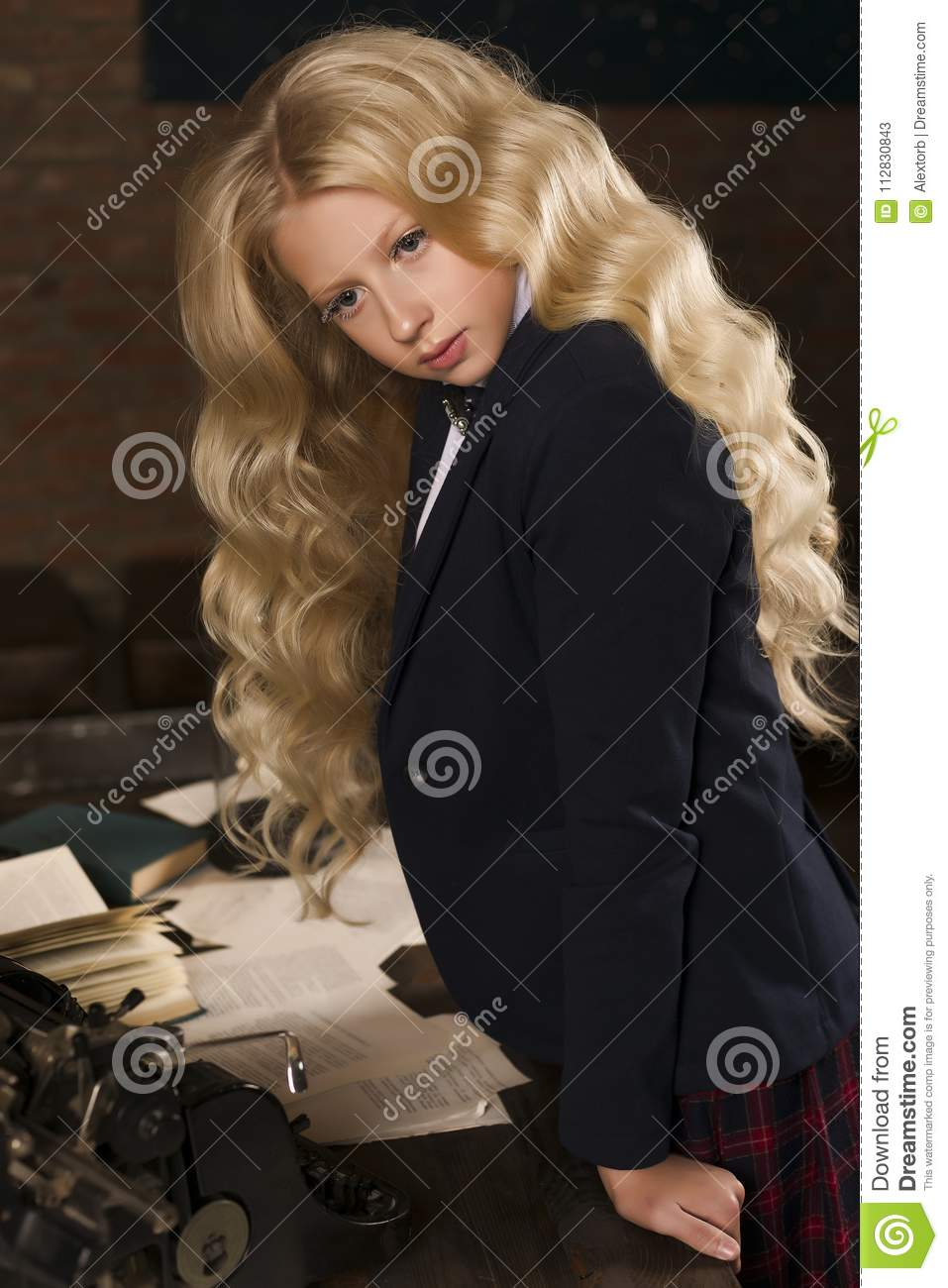 Beautiful Long Haired Curly Blonde Schoolgirl Tiredly Stays At A