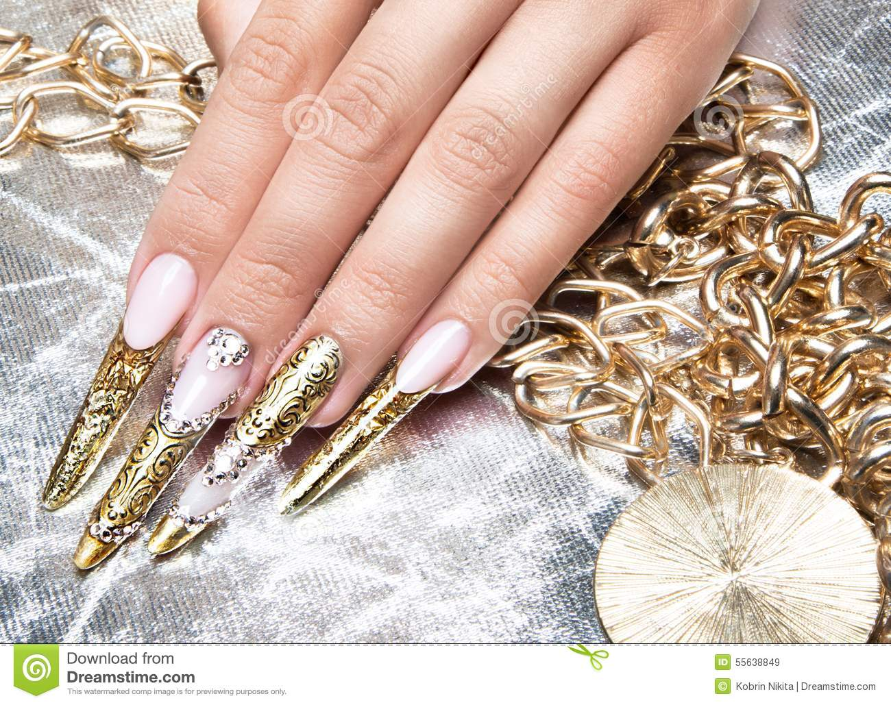 Pretty nails with rhinestones