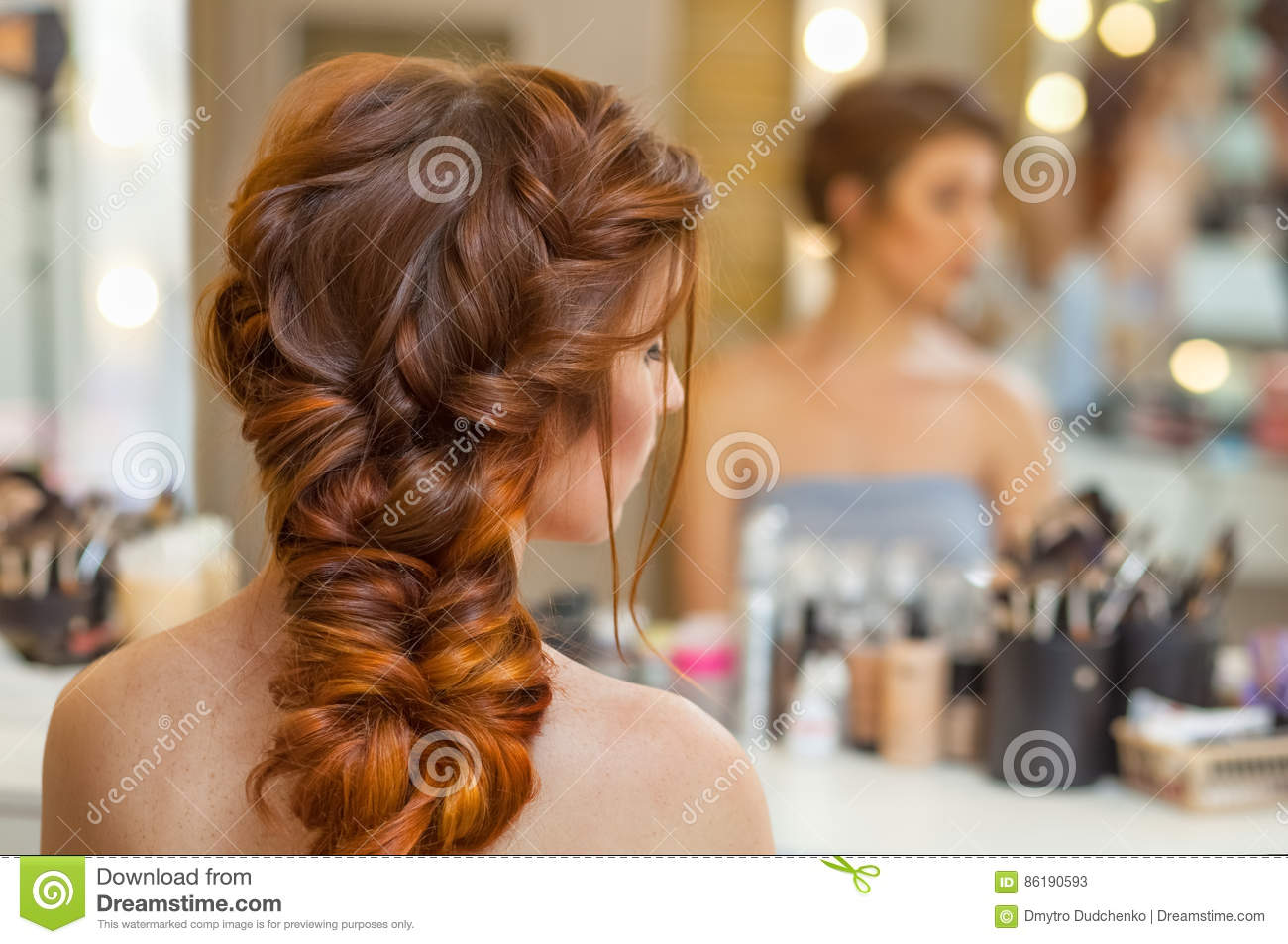 Beautiful, With Long, Red-Haired Hairy Girl, Hairdresser Weaves A French Braid, In A -1414