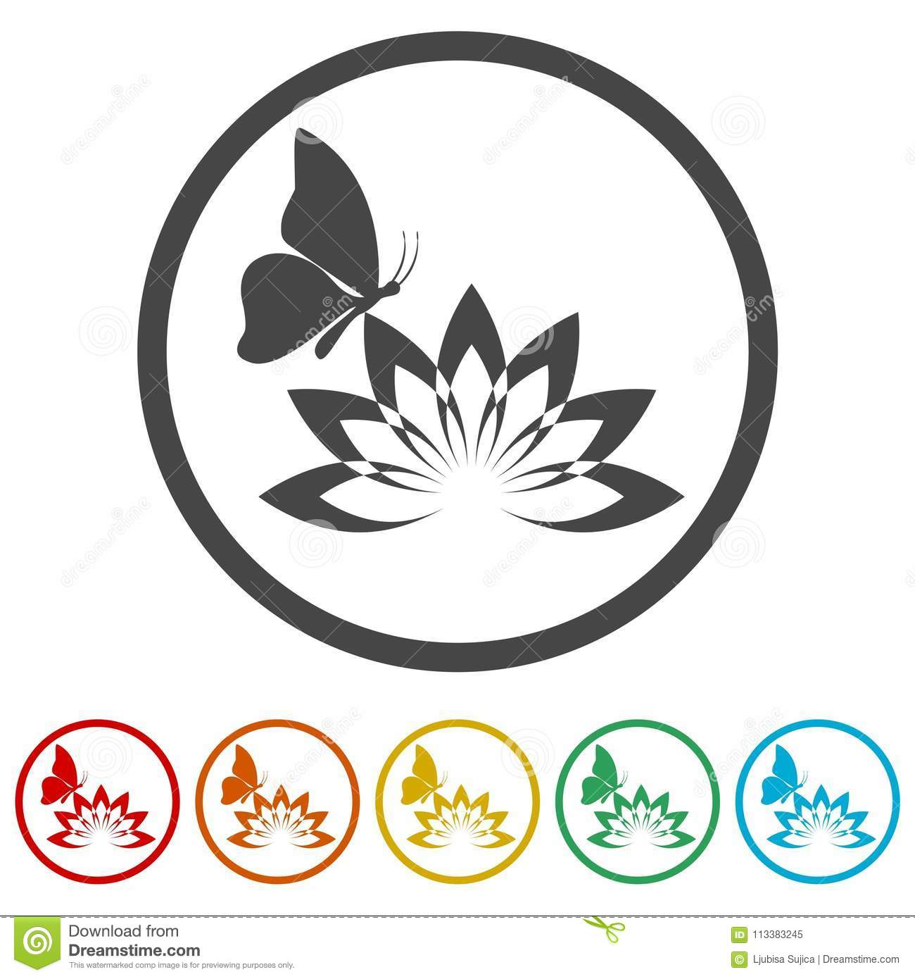 Beautiful Lotus Flower And Butterfly 6 Colors Included Stock Vector