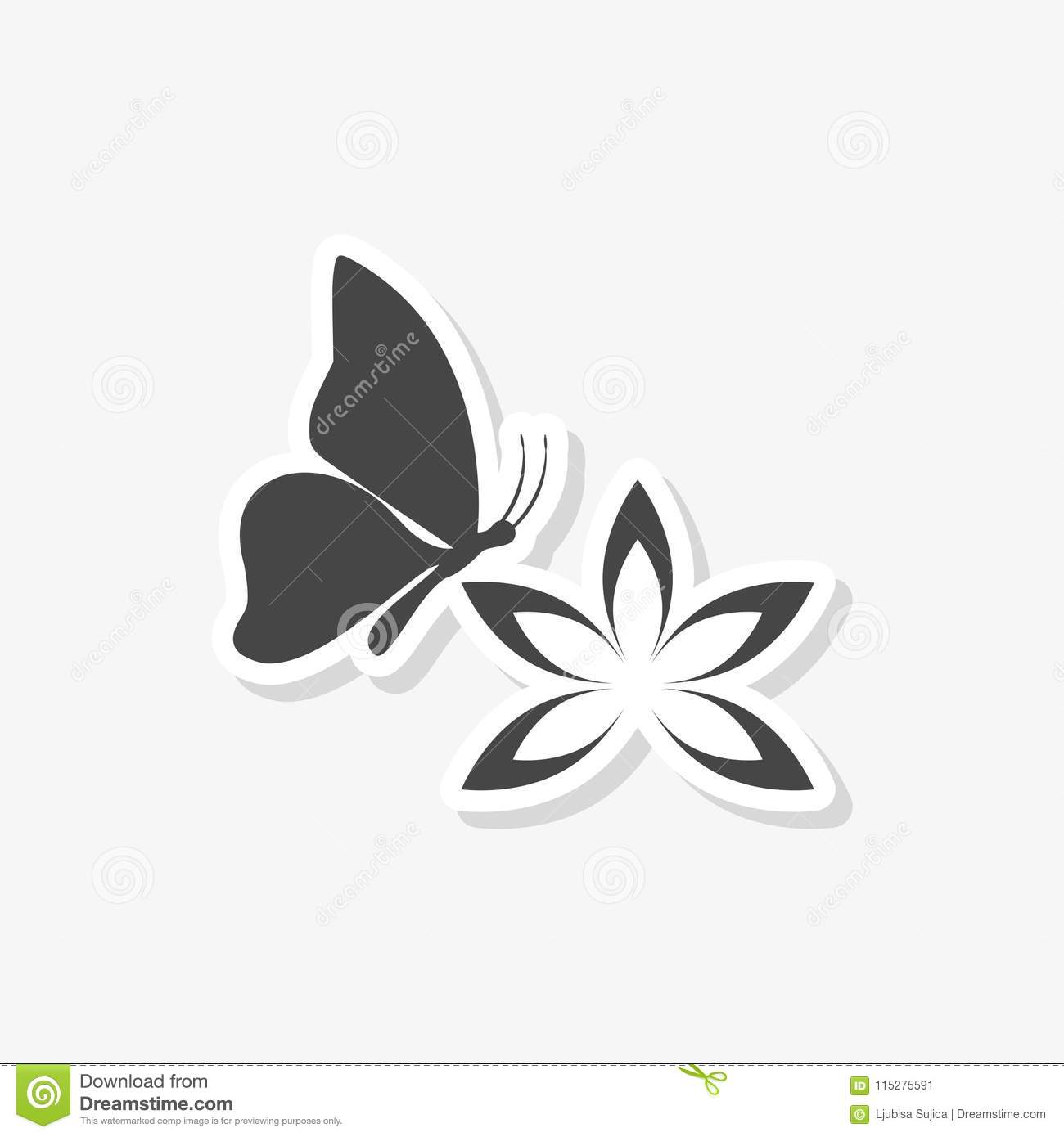 Beautiful lotus flower and butterfly sticker simple vector icon download beautiful lotus flower and butterfly sticker simple vector icon stock vector illustration of izmirmasajfo
