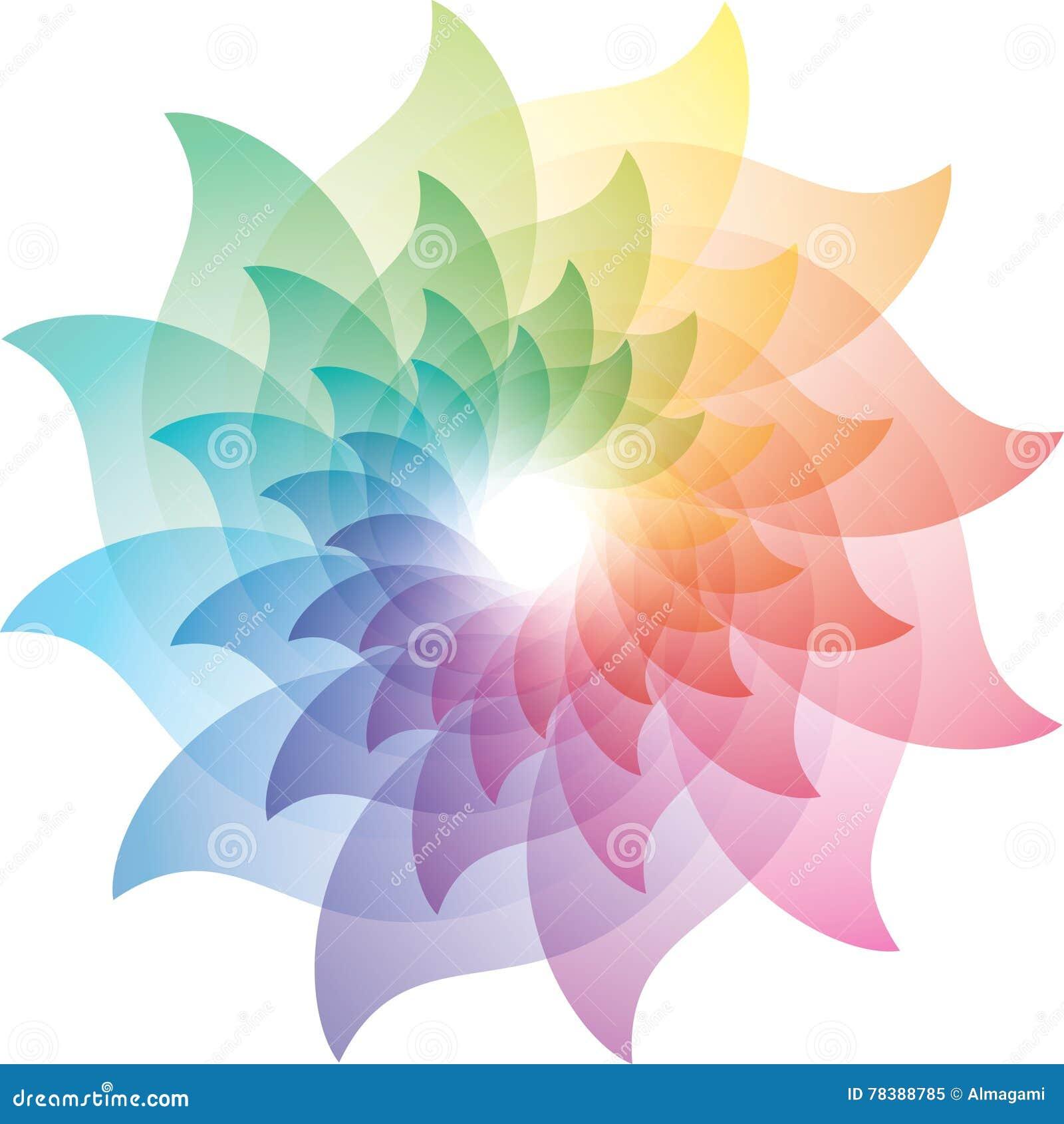 Beautiful Lotus Flower Color Wheel Icon Stock Vector Illustration