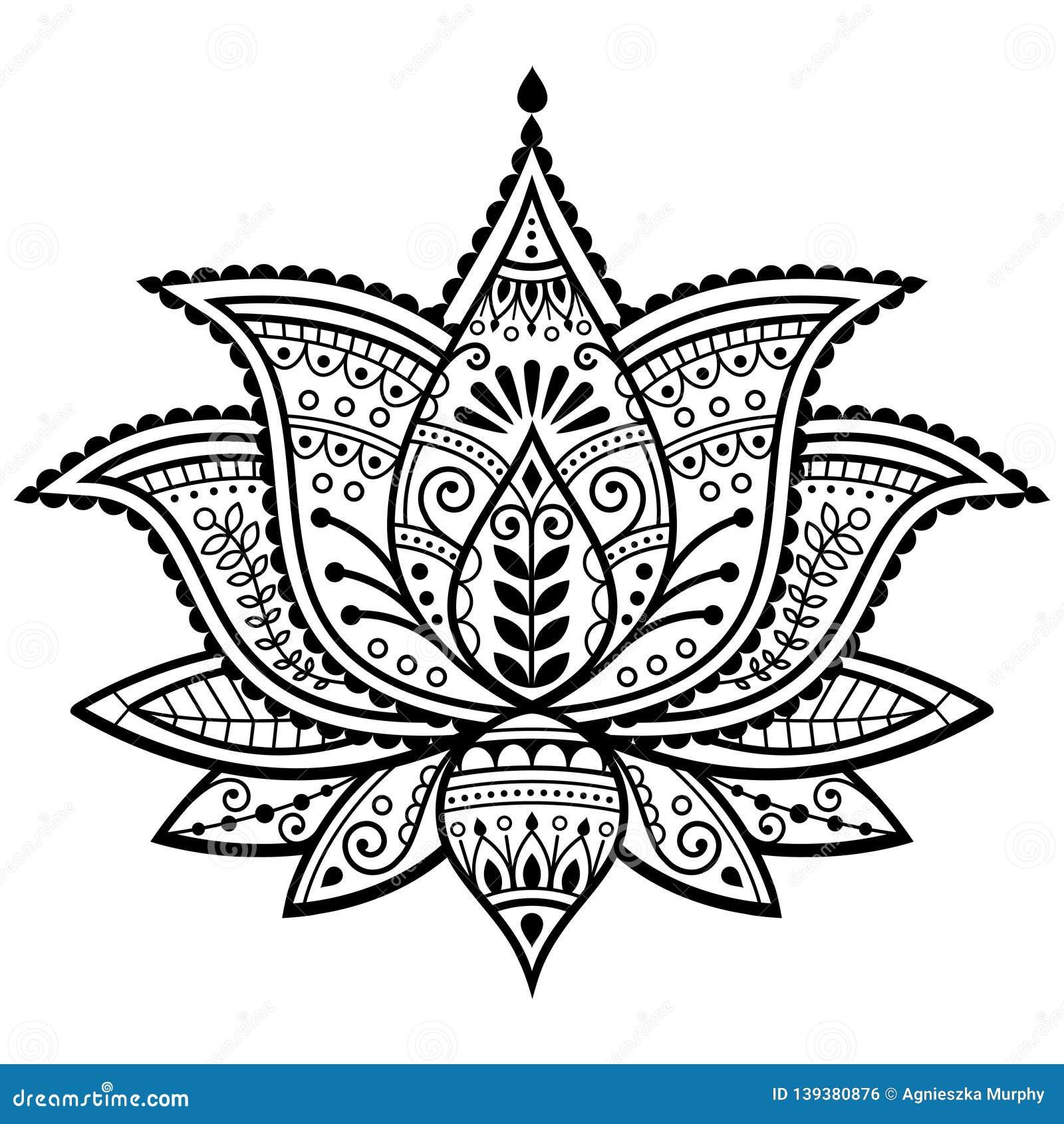 Mehndi Henna Tattoo Lotus Flower Vector Design Indian Ornamental