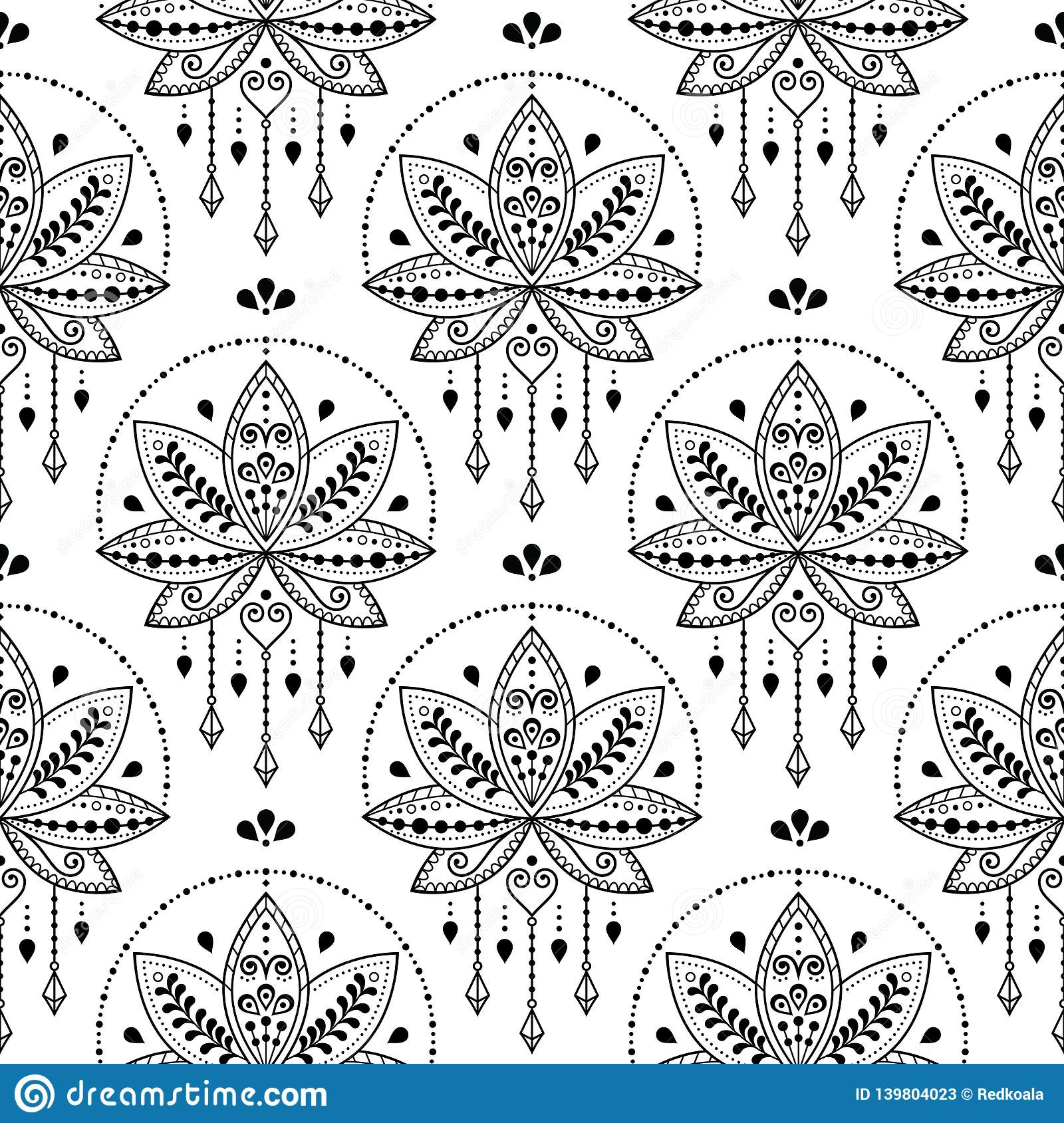 558745a2169d3 Beautiful lotus repetitive pattern inspired by traditional tattoo art from  India - boho style
