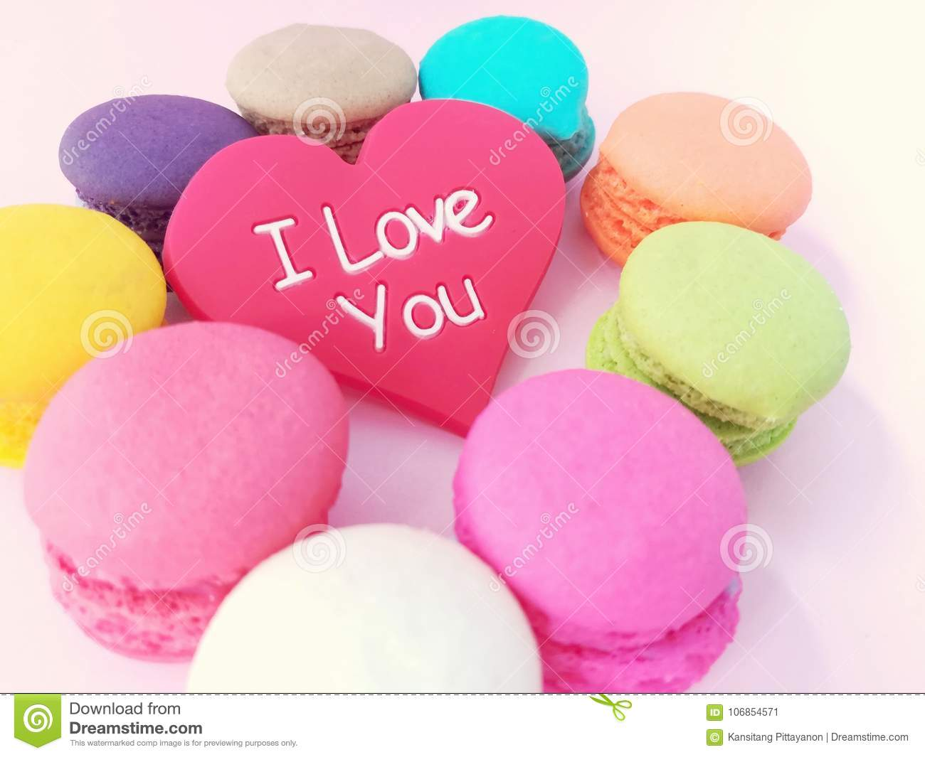 Beautiful Love Heart With Macaron Cute Wallpaper Pink Background