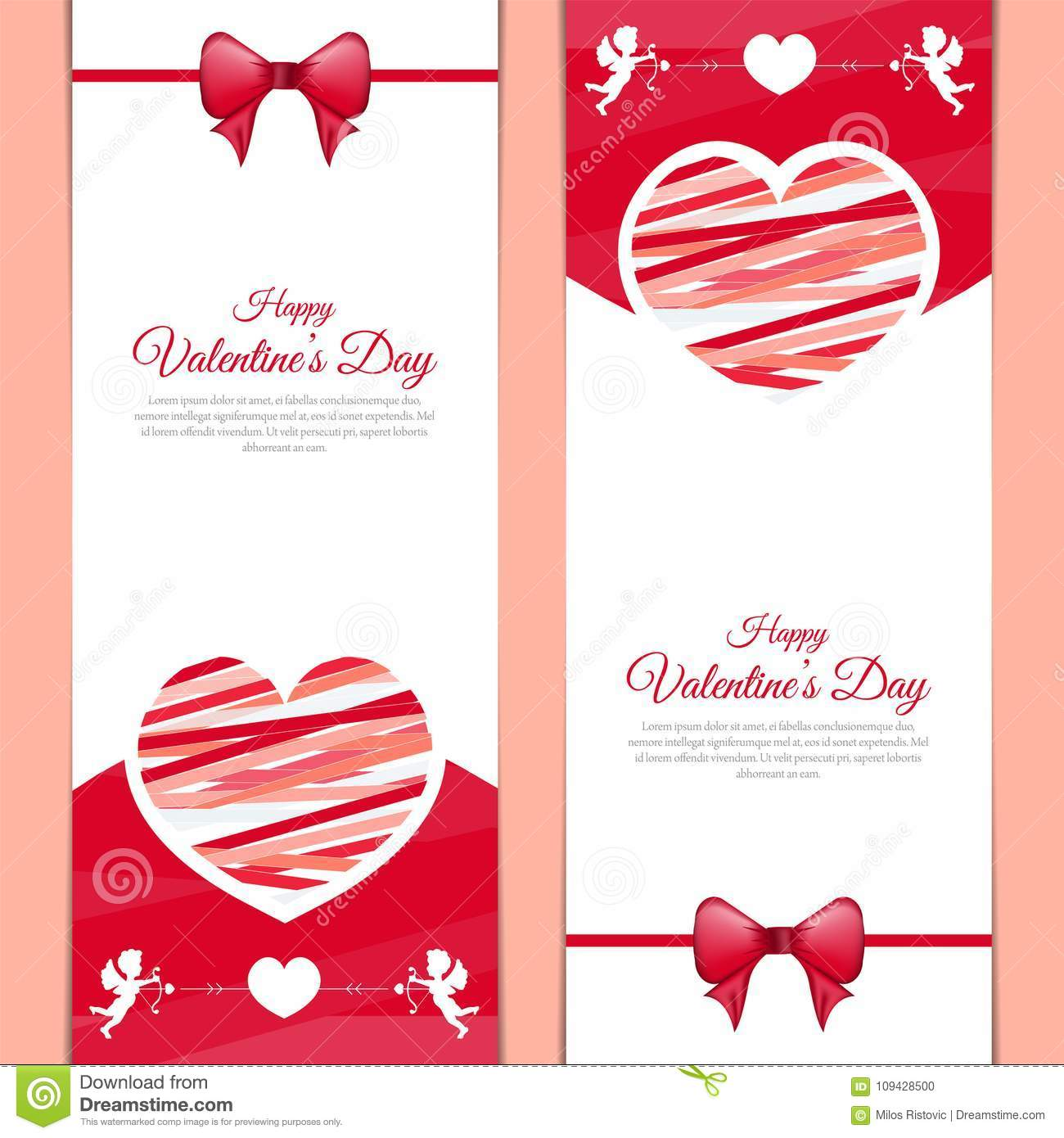 Beautiful Love Message Greeting Card For Valentines Day Stock Vector