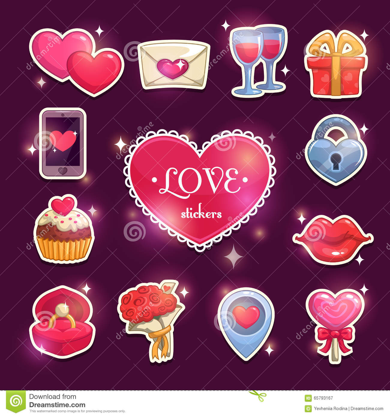 Beautiful Love And Passion Stickers Stock Vector Image