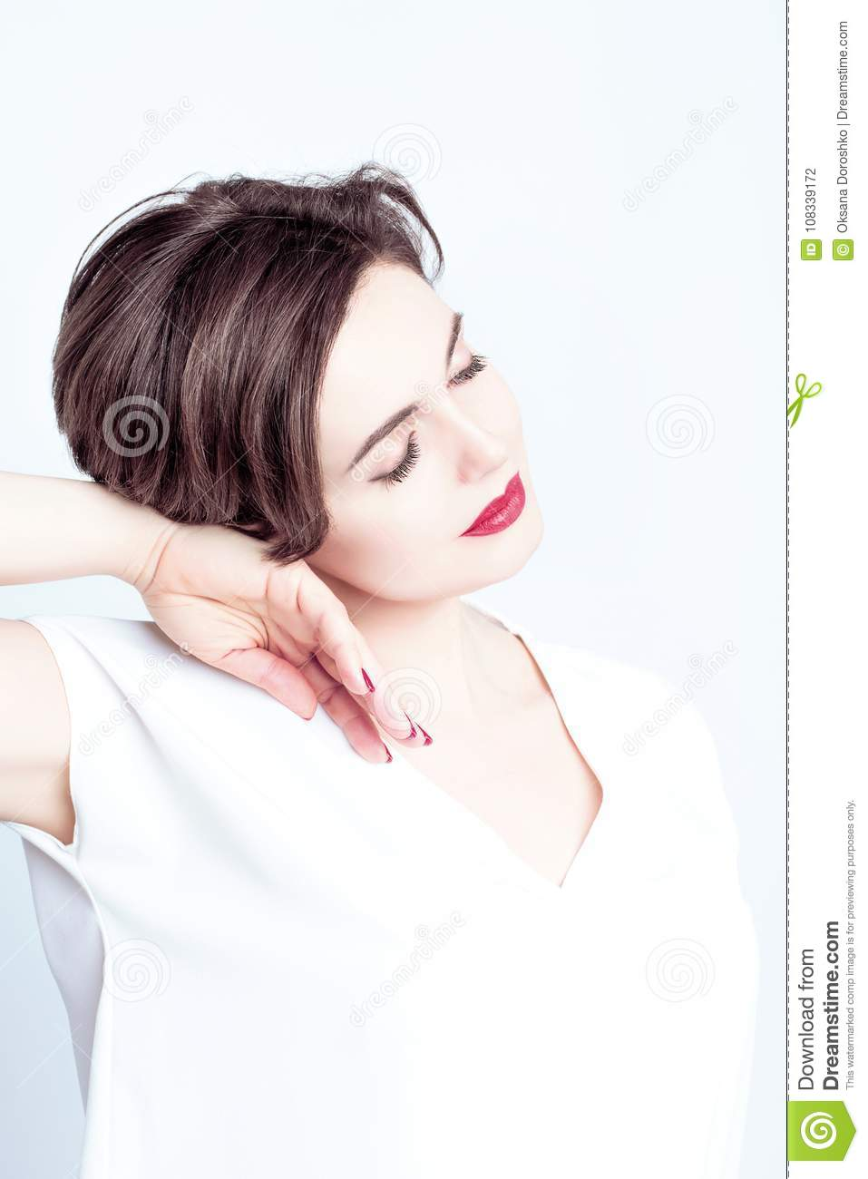 Beautiful And Luxurious Woman With Red Lipstick On Her Lips Haircut