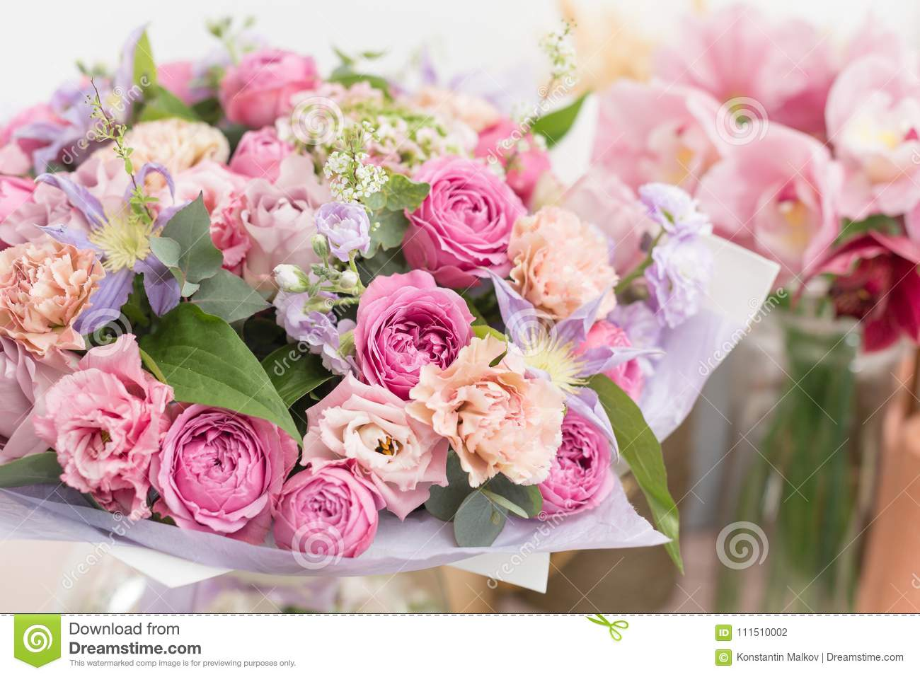 Close up beautiful luxury bouquet of mixed flowers in glass vases royalty free stock photo izmirmasajfo Choice Image