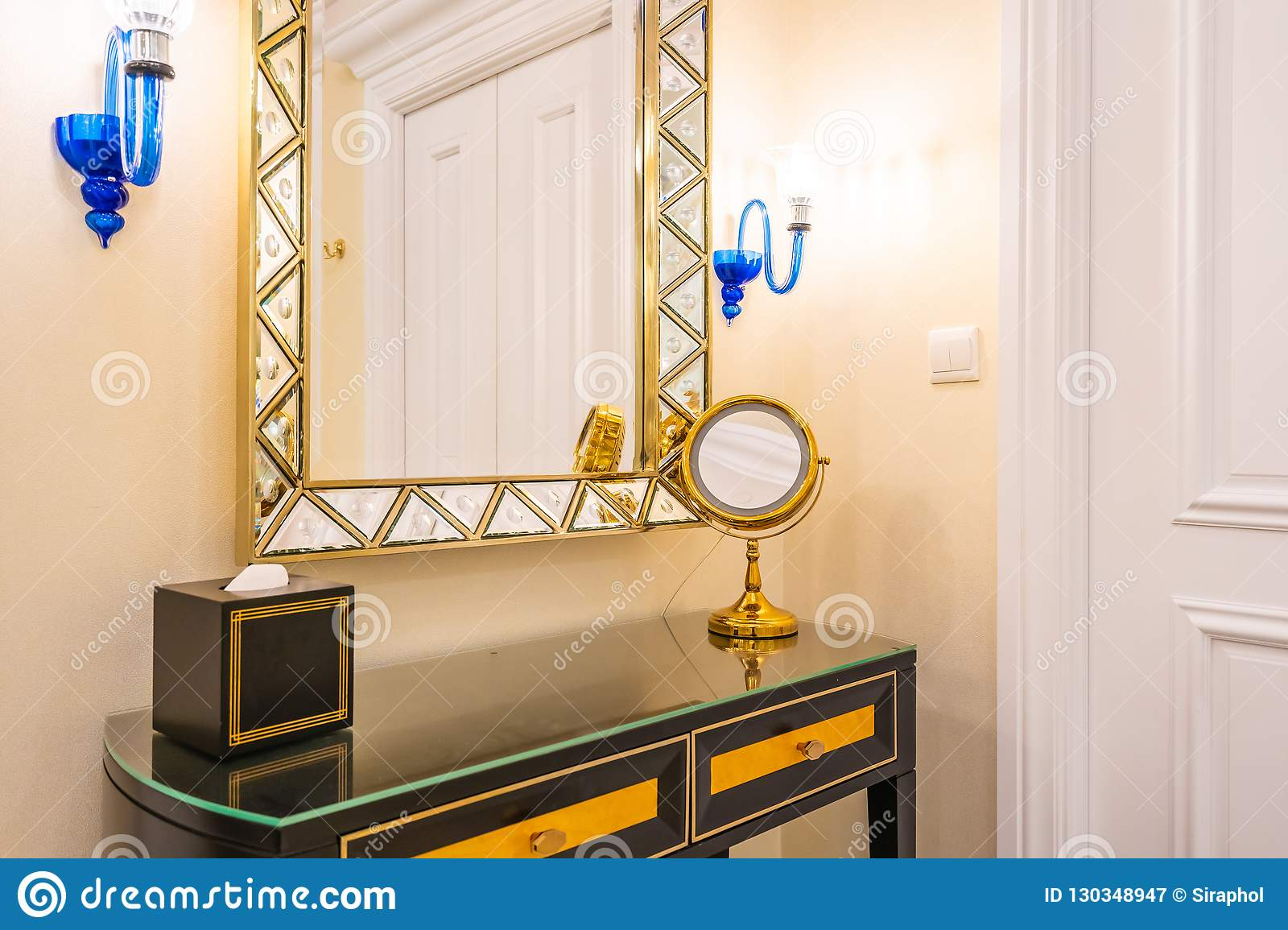 Beautiful Luxury Dressing Table With Big Mirror And Chair Decoration ...