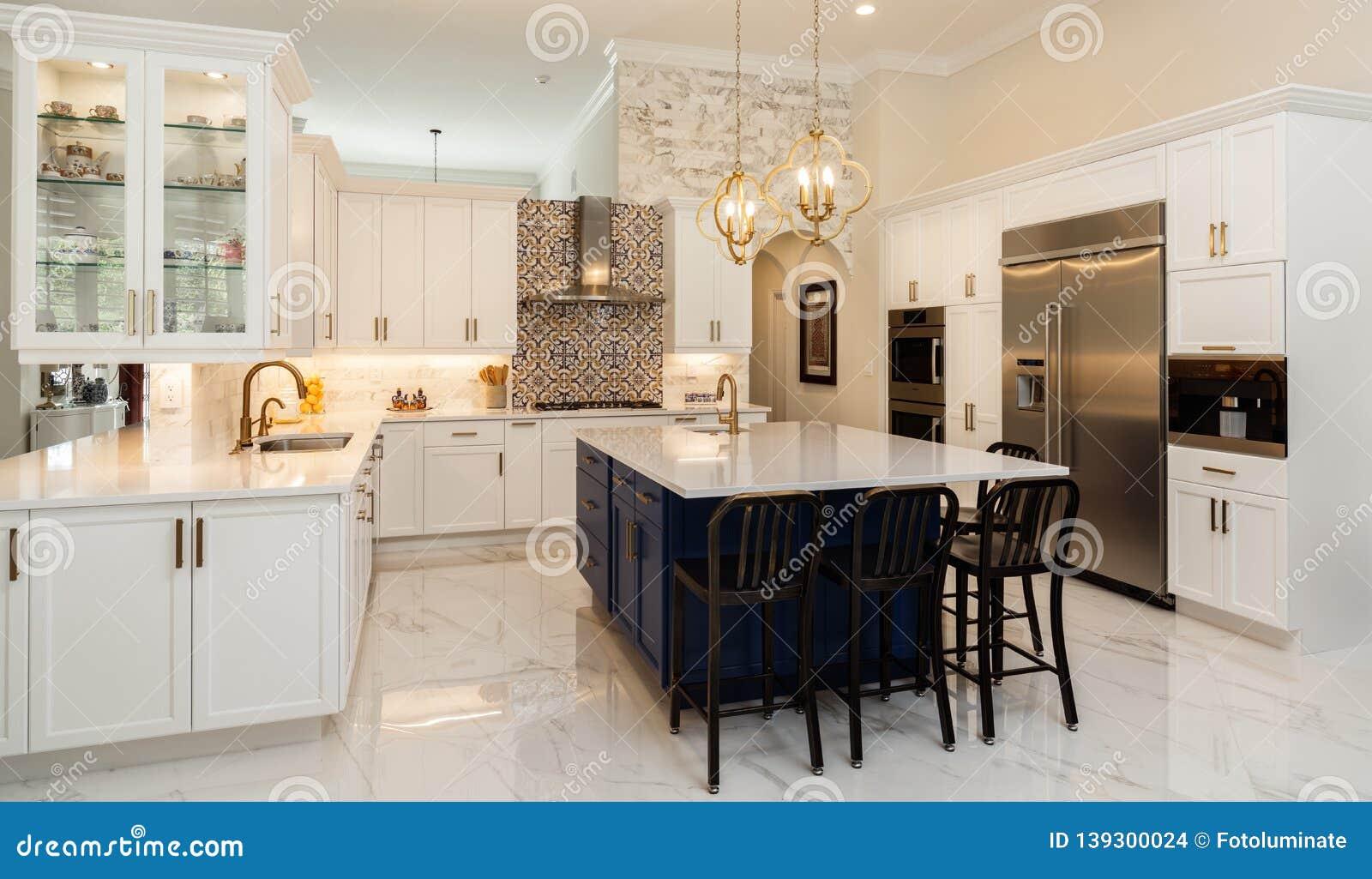 Luxury White Kitchen Home Design Stock Photo Image Of Granite Home 139300024
