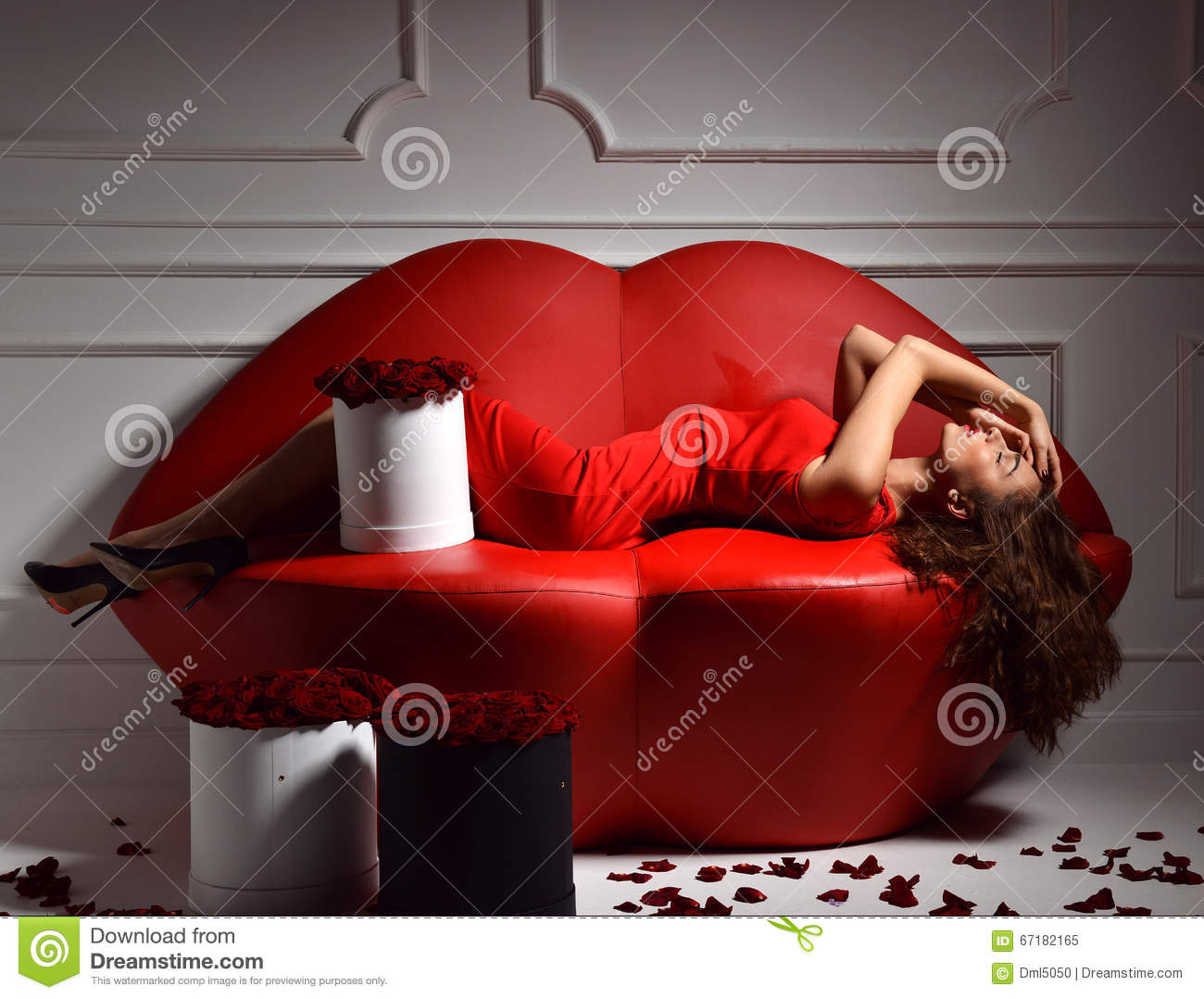 Download Beautiful Luxury Fashionable Woman Lying On Red Lips Sofa Couch  Stock Image   Image Of