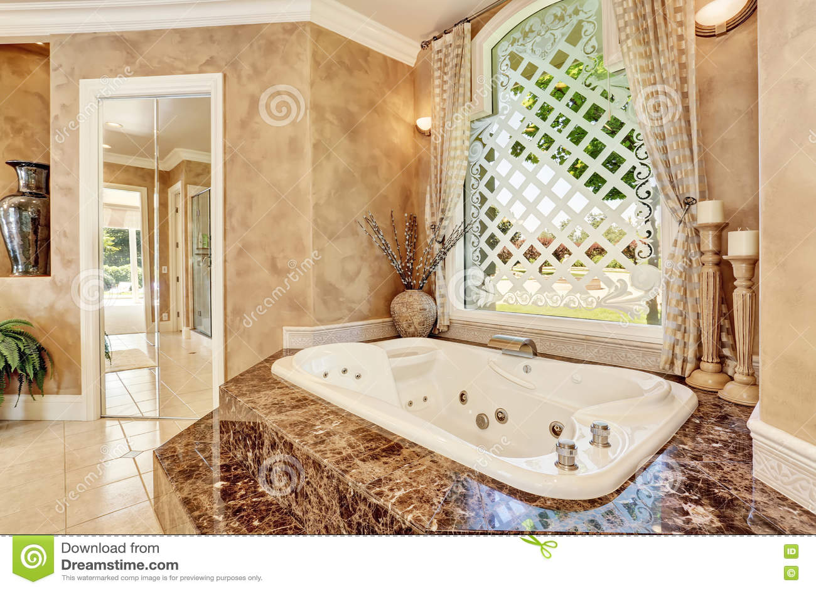 Beautiful Luxury Marble Bathroom Interior In Beige Color Stock Photo ...