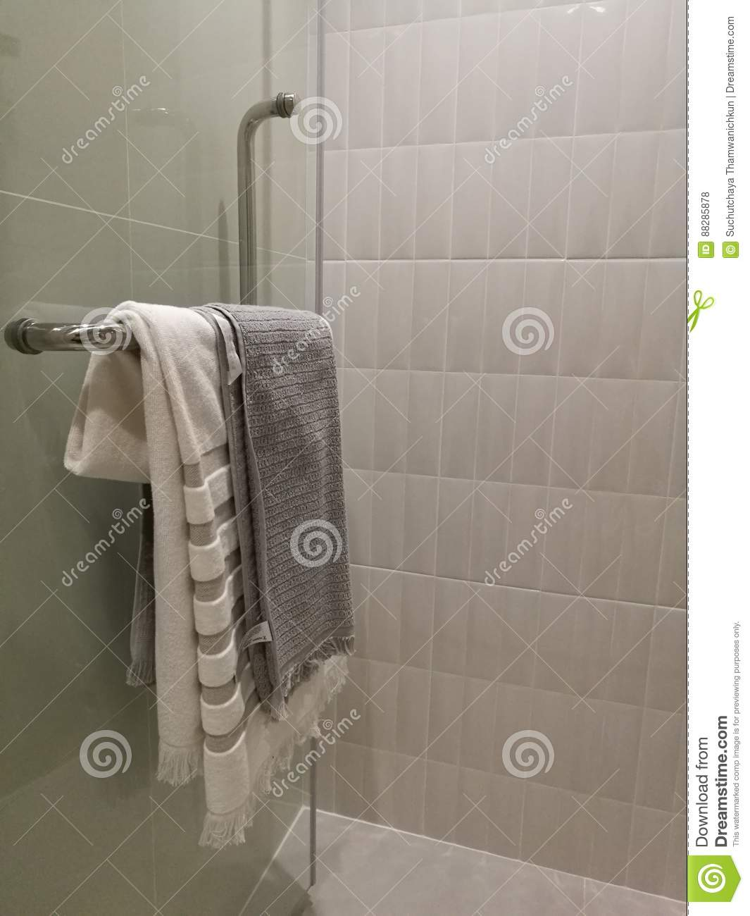 Beautiful Luxury Shower Box Decoration In Bathroom Interior Closed Up Tower Hanging On Towel Rack
