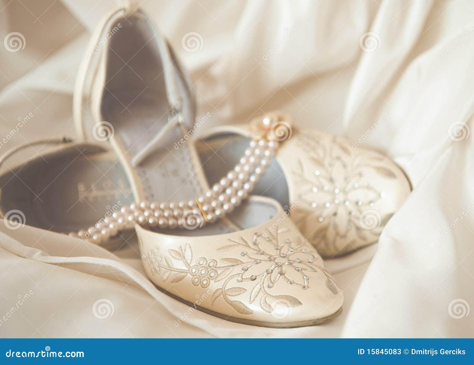 Beautiful Luxury White Wedding Shoes Stock Photos
