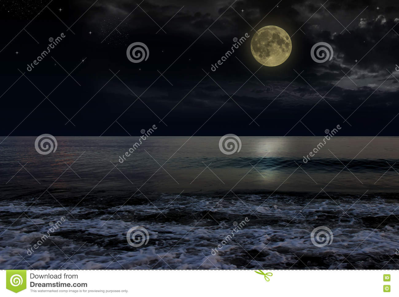 Beautiful magic blue night sky with clouds and full moon stars reflexion in water