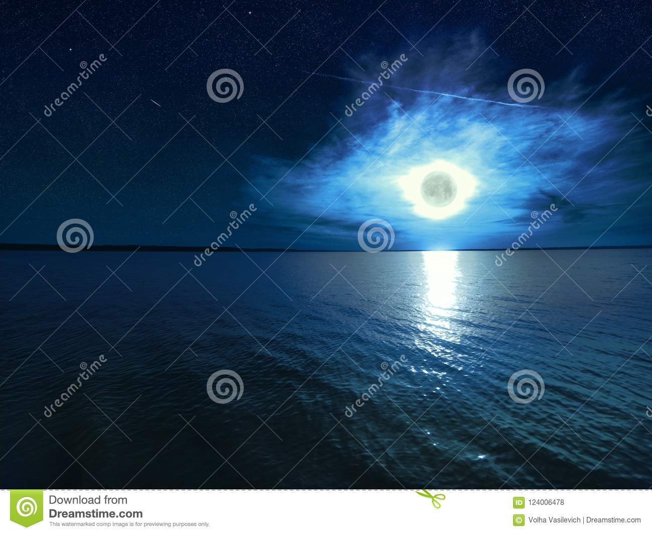 Beautiful magic blue night starry sky with clouds and full moon with reflexion of moonlight in the water