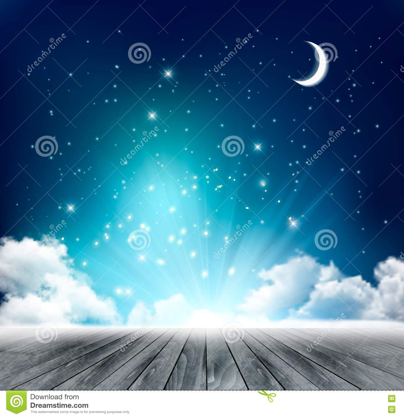 Beautiful Magical Night Background With Moon And Stars