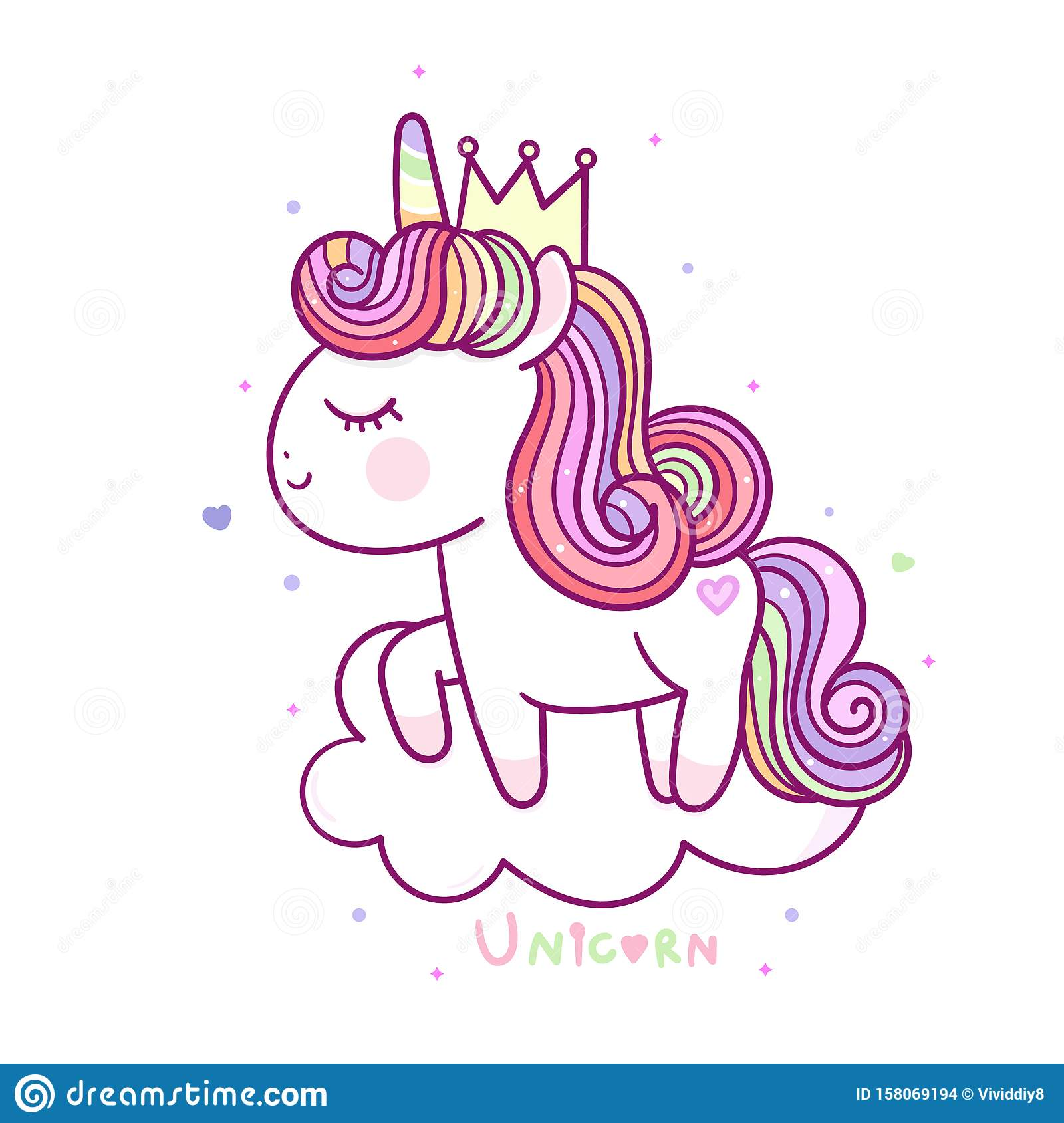 Beautiful Magical Unicorn On Cloud Funny Horse Wallpaper Stock