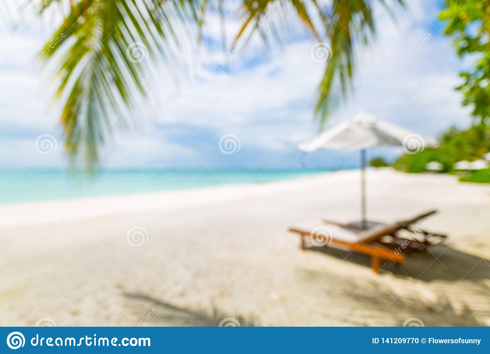 Blur Of Tranquil Beach Scene Blurry Exotic Tropical Beach