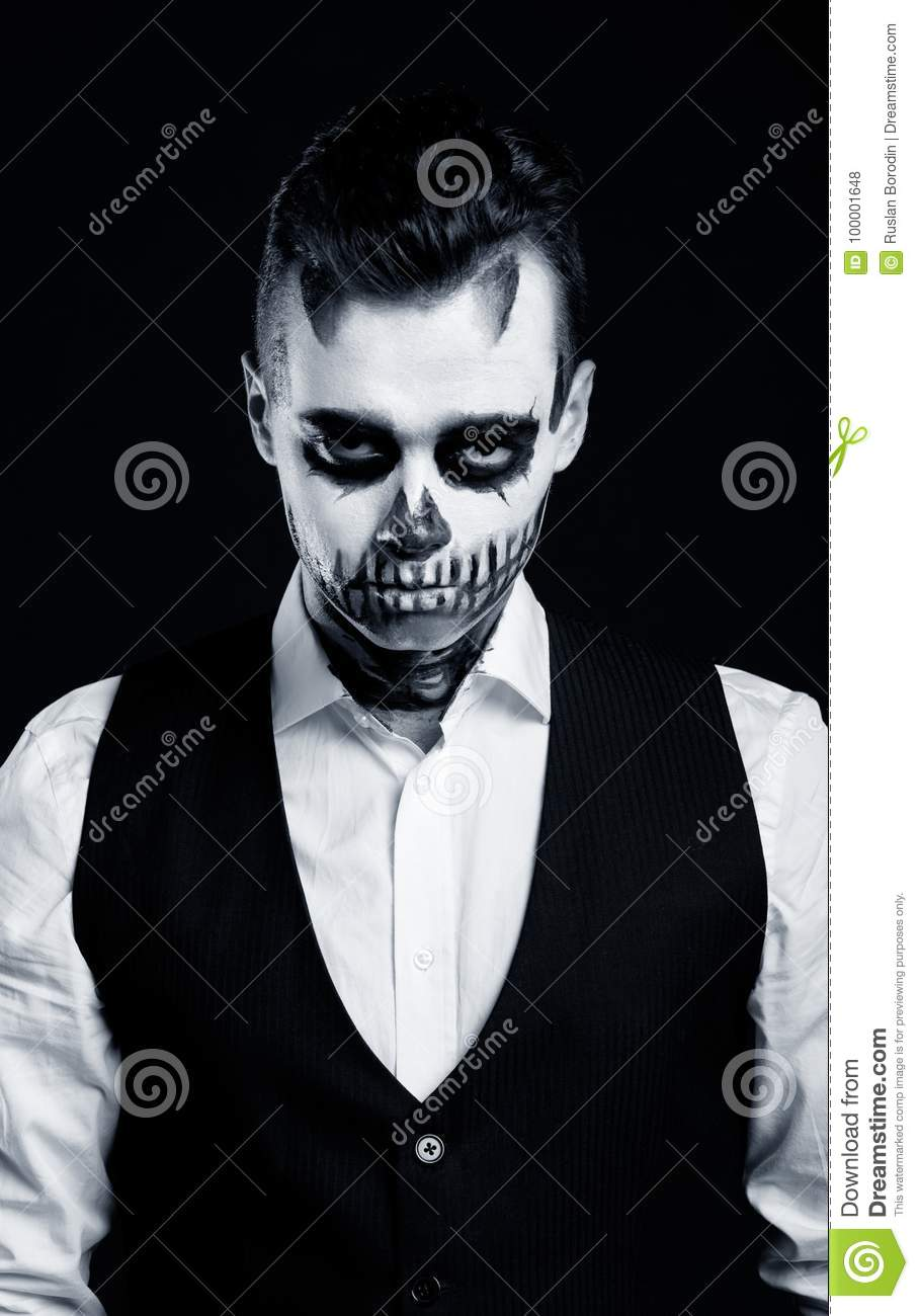 Halloween Make Up Men.Beautiful Man With Creative Make Up For The Halloween Party