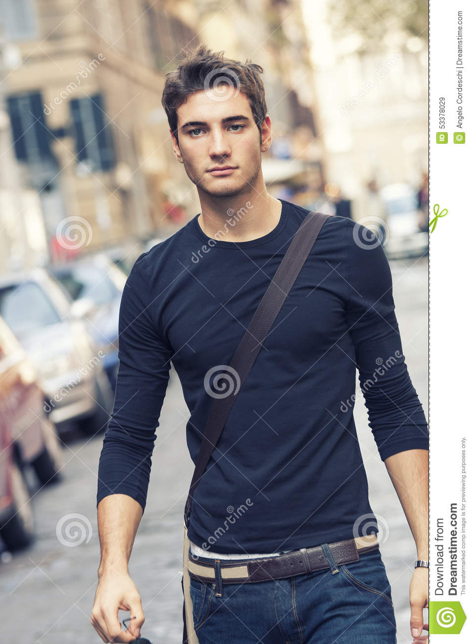 Beautiful Man Model Outdoor With Casual Outfit Stock Photo - Image 53378029