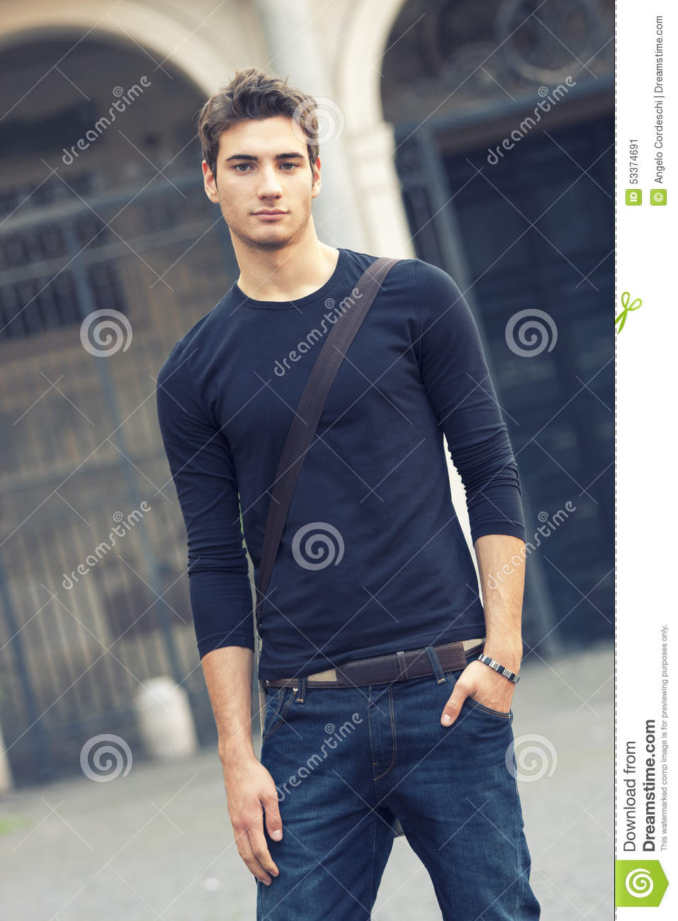beautiful man model outdoor with casual outfit stock image - image