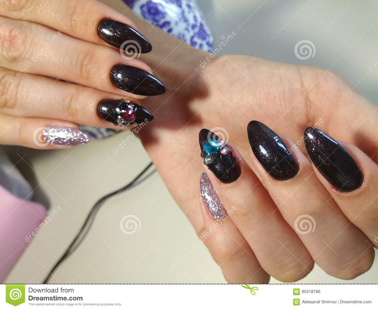 Beautiful manicure design for cute girls - Beautiful Manicure Design For Cute Girls Stock Photo - Image Of Girl