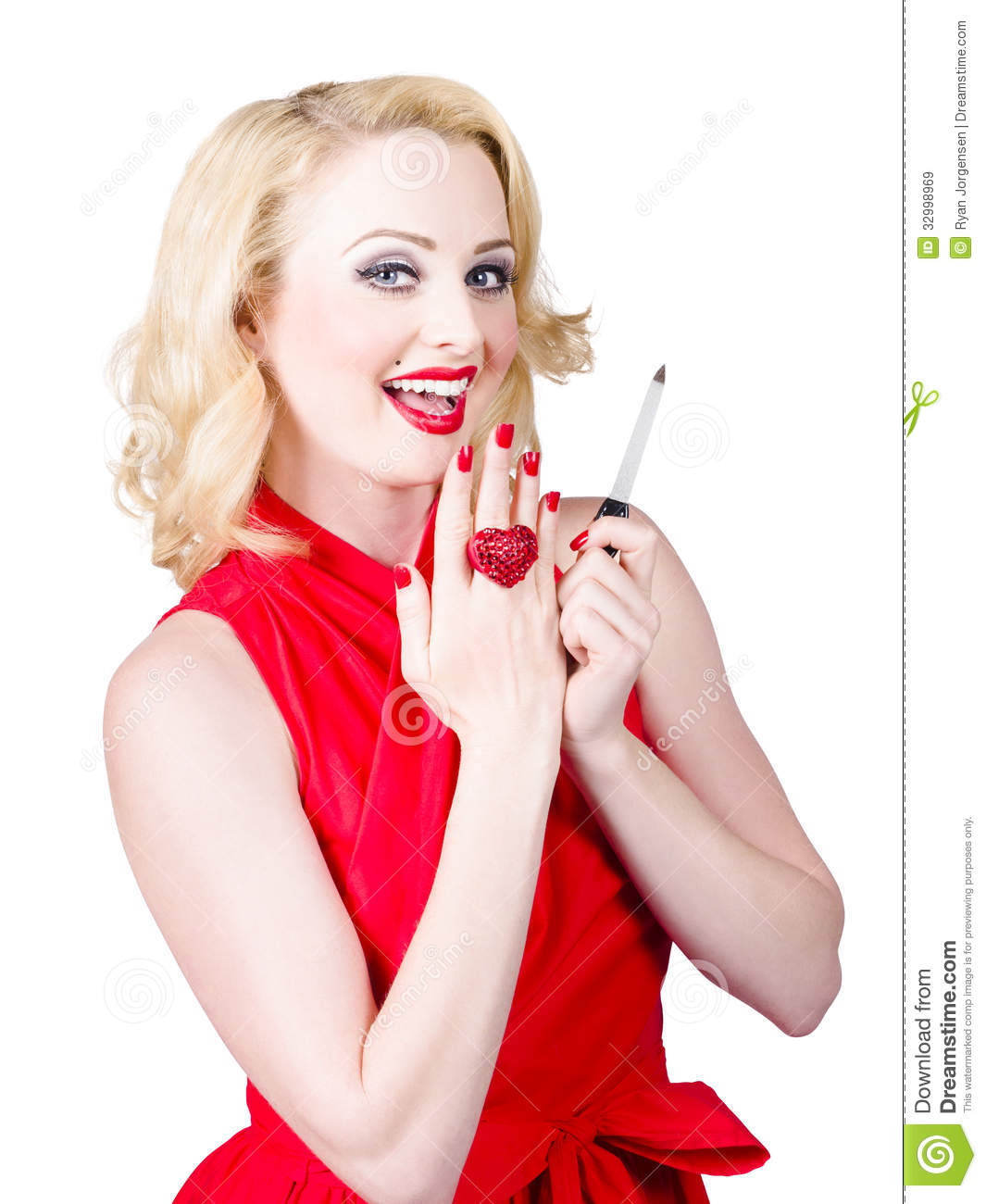 A Nail Art Beauty Salon Fashion Makeover Game For Girls: Beautiful Manicure Woman Wearing Red Nail Polish Stock