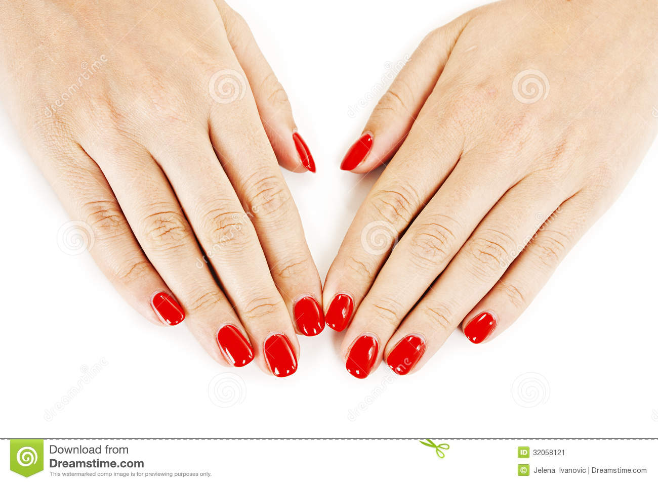 Download Beautiful Manicured Womans Hands With Red Nail Polish Stock Image