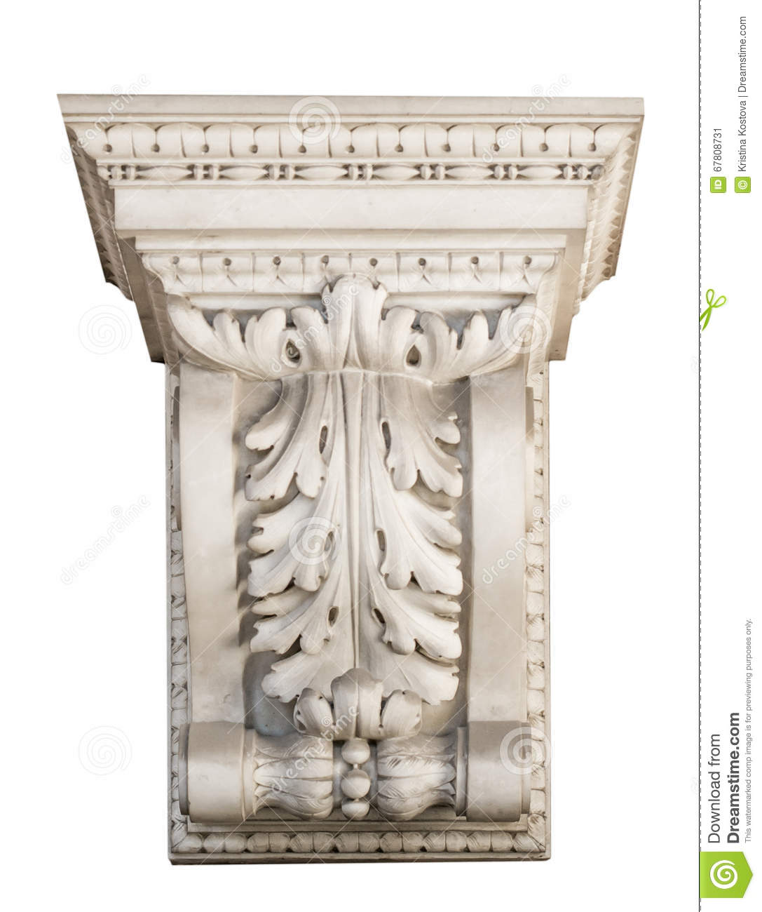 Beautiful marble architectonic decoration with floral elements