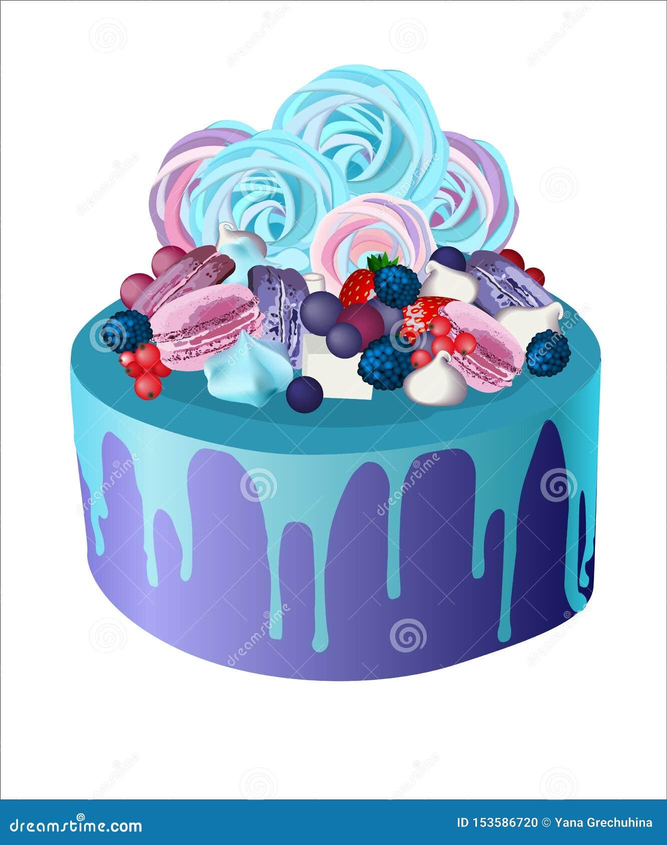 Beautiful marshmallow cake biscuits berries icing strawberries blackberry cookies