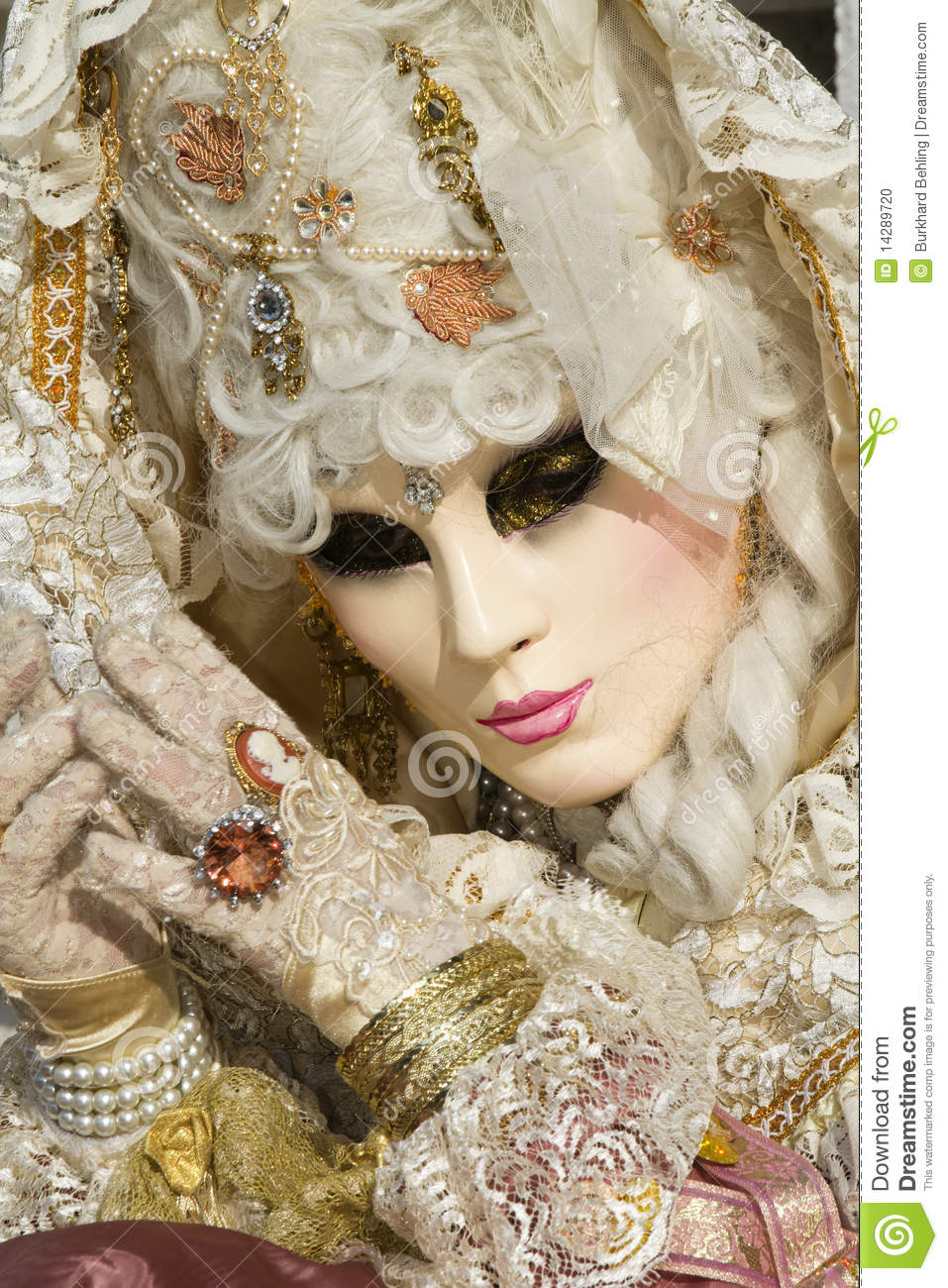 Beautiful Mask At Carnival In Venice Stock Photo Image