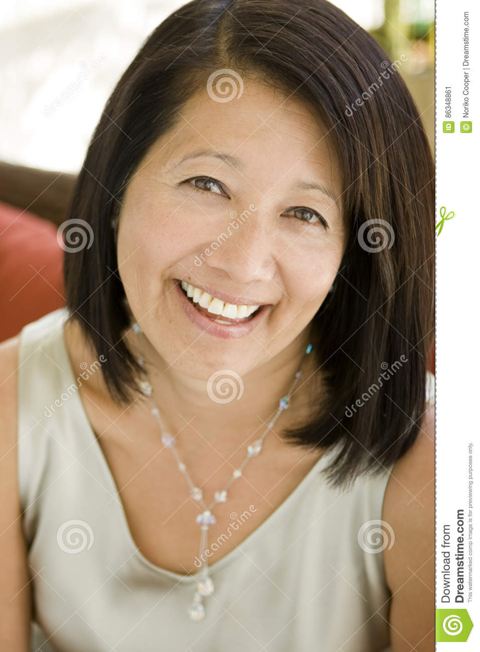 beautiful mature confident asian woman smiling stock image - image