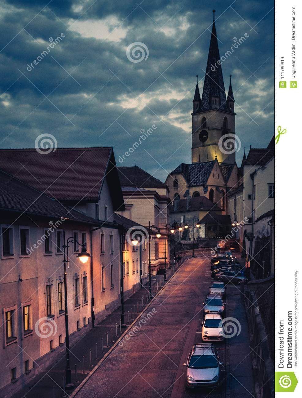 Beautiful medieval architecture with the Evangelical Church in background in Sibiu, Romania