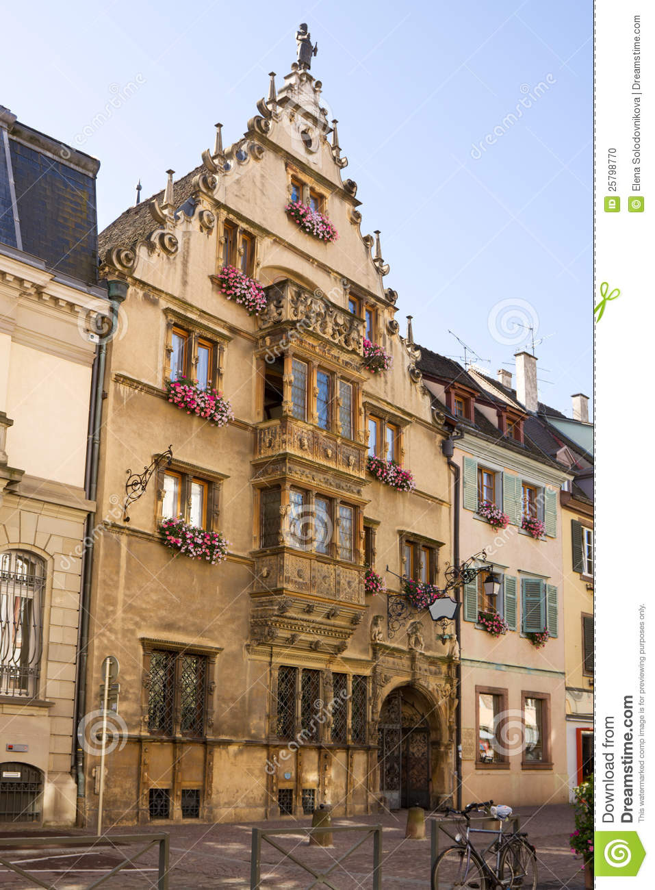 beautiful medieval house in colmar city france stock. Black Bedroom Furniture Sets. Home Design Ideas