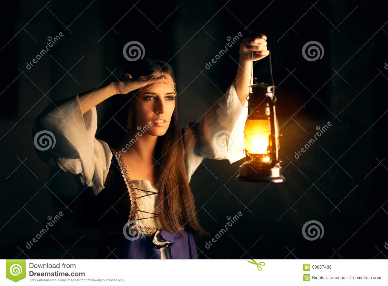 Beautiful Medieval Princess Holding Lantern Looking Outside Stock ... for Girl Holding Lamp  34eri