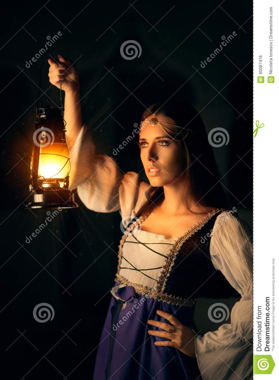 Beautiful Medieval Princess Holding Lantern Stock Photo - Image of ... for Girl Holding Lamp  45hul
