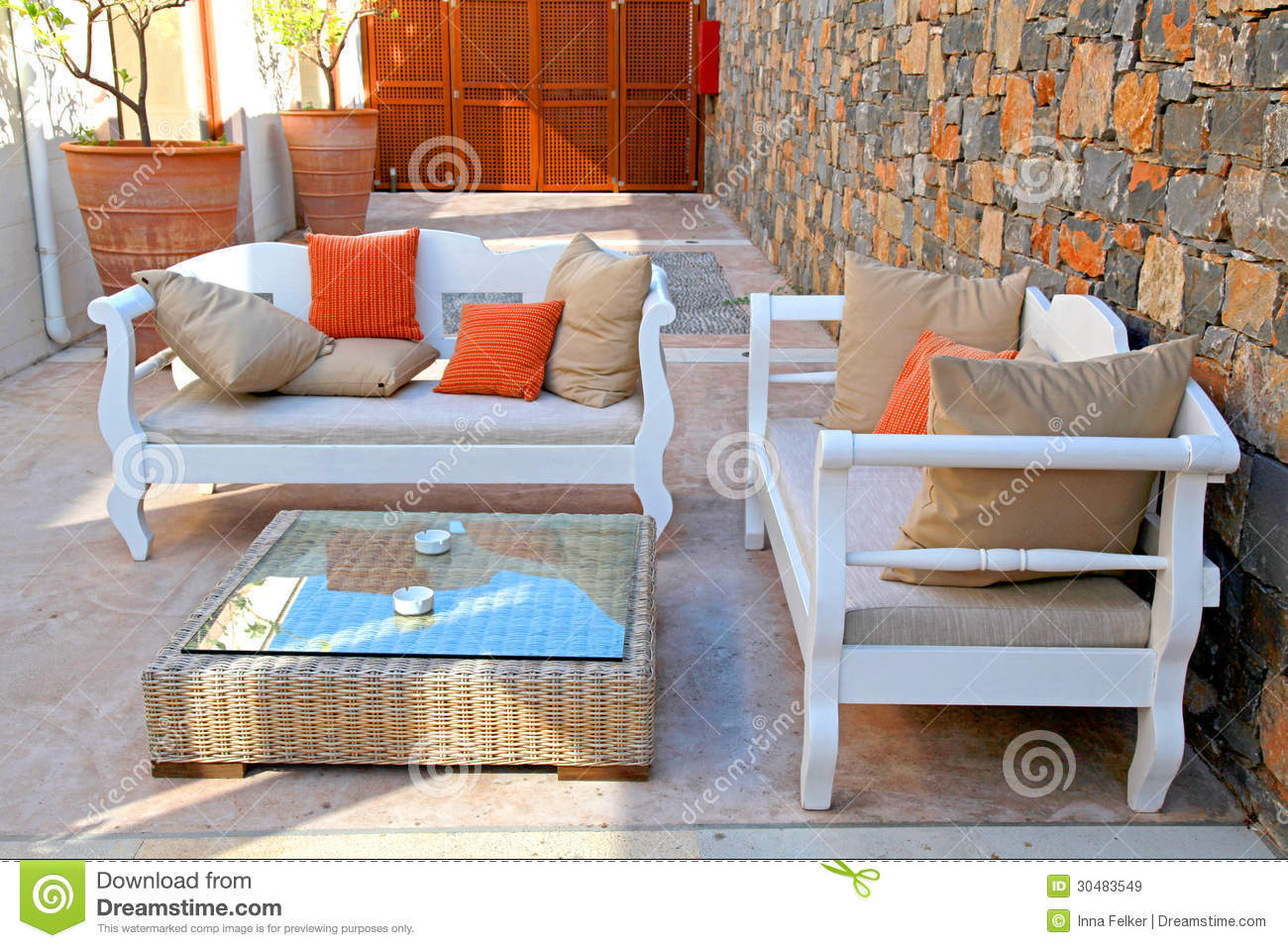 Beautiful Mediterranean Patio With White Outdoor Furniture Royalty Free Stock