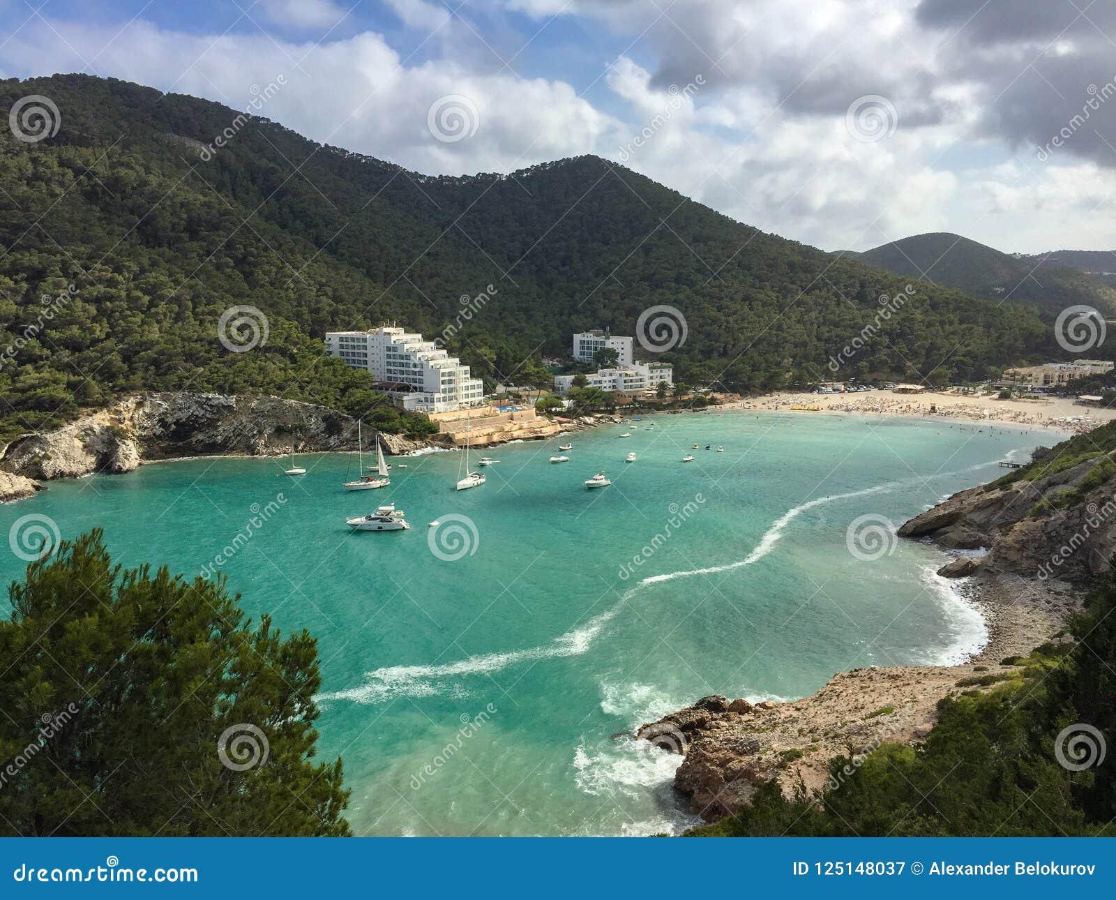 Beautiful Mediterranean Sea Cala Llonga Bay, Ibiza Island