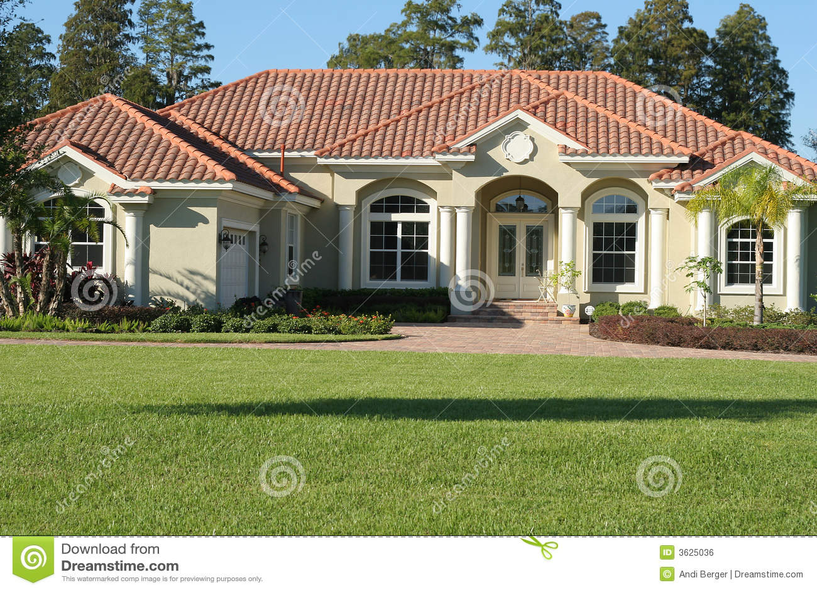 Beautiful mediterranean style home royalty free stock for Beautiful mediterranean homes