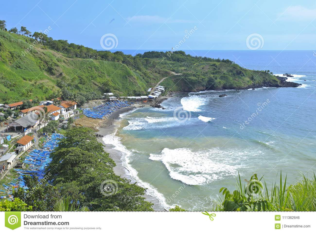 Menganti Beach Coastline Area Kebumen Central Java Indonesia View From Above