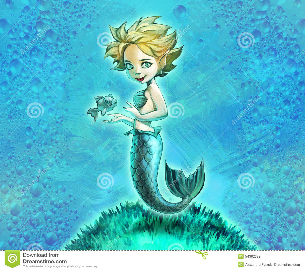 Beautiful mermaid with her pet fish stock illustration for Fish and pets unlimited
