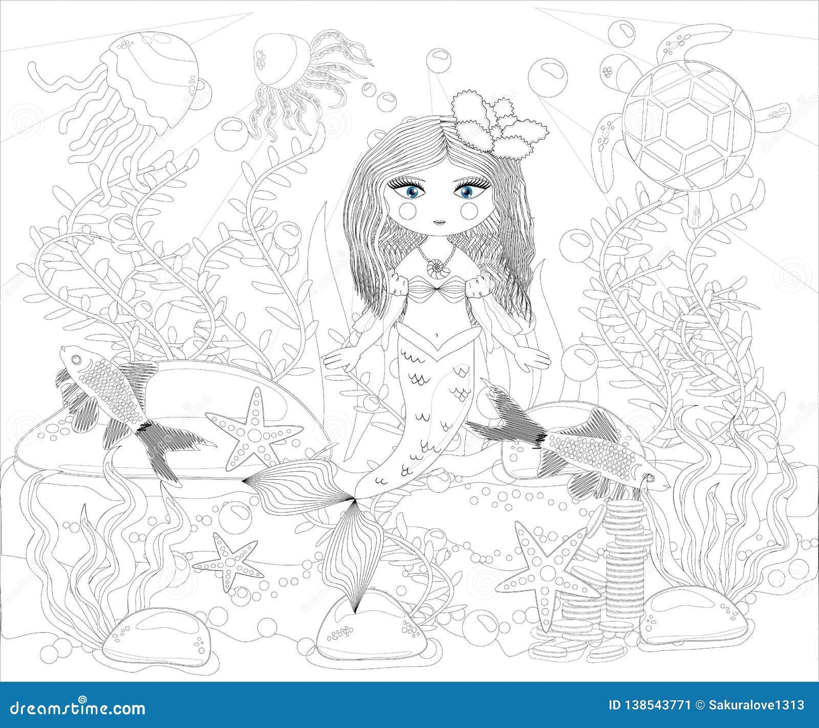 Beautiful Mermaid Underwater World Anti Stress Coloring Book For