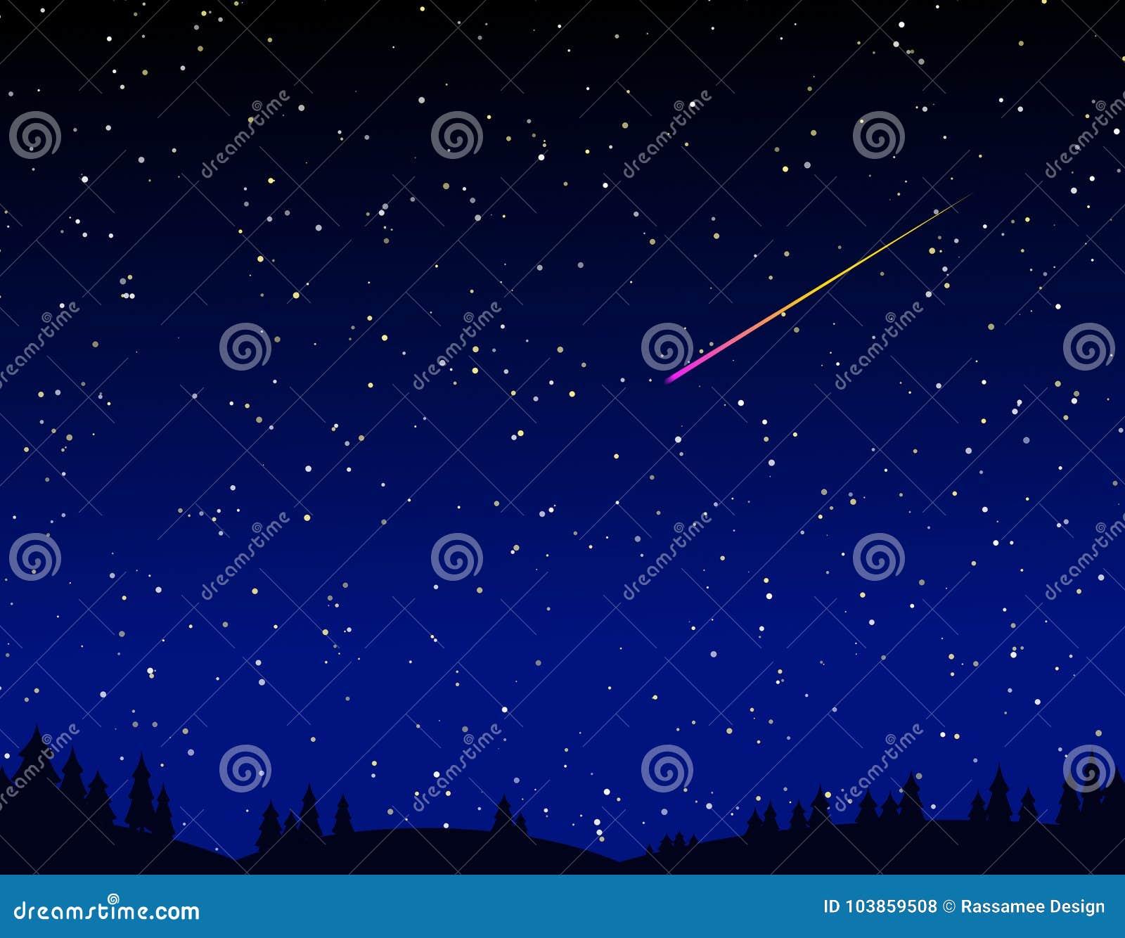 Download Beautiful Meteor Shower In Dark Night Stock Illustration