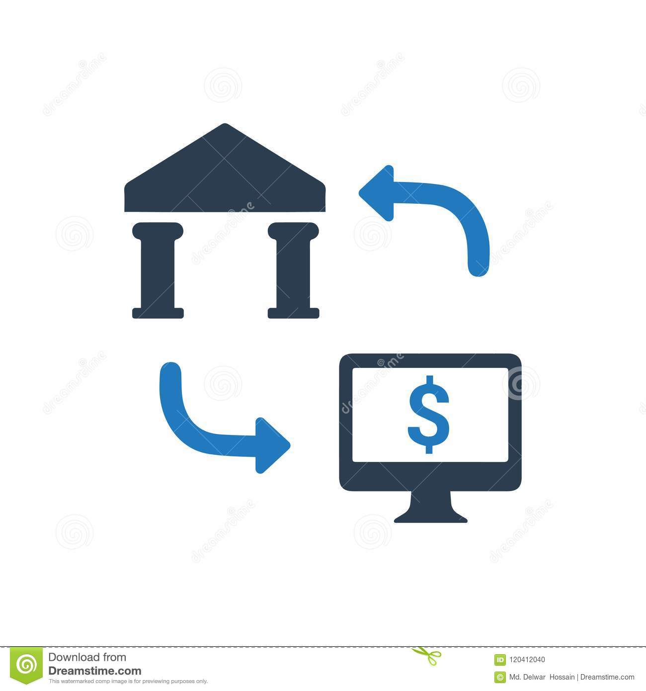 Bank Wire Online | Online Bank Transfer Icon Stock Vector Illustration Of Wire 120412040