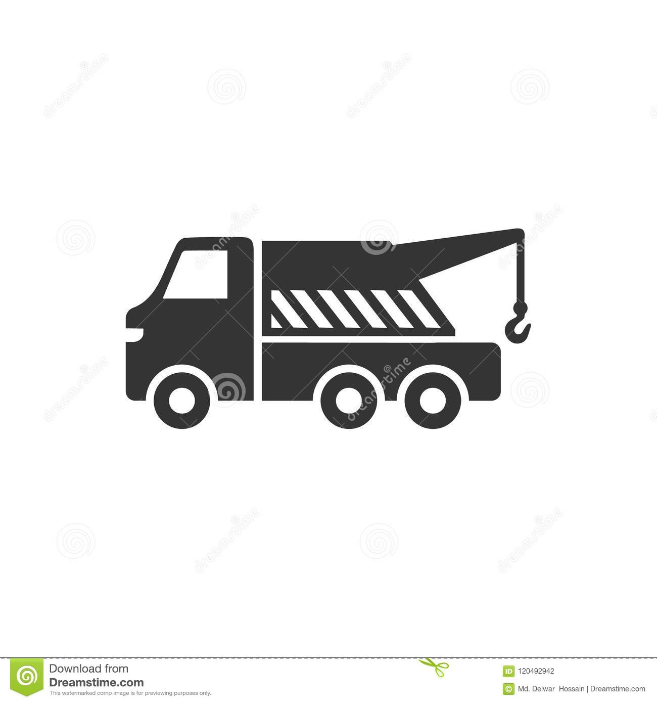 Tow Truck Icon Stock Vector Illustration Of Crane Symbol 120492942