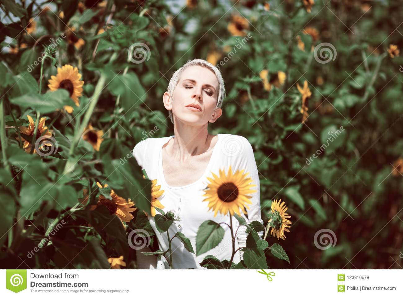 Beautiful middle age woman in a rural field scene outdoors with sunflowers